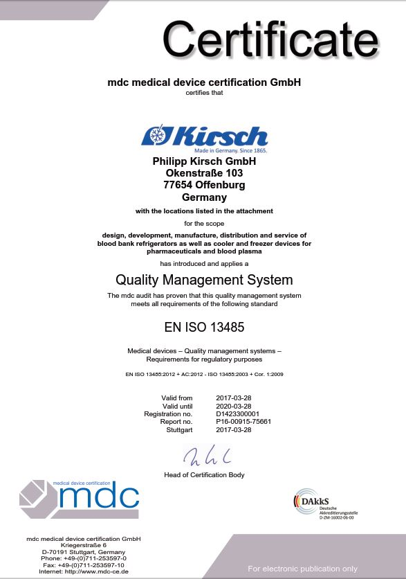 DIN EN ISO 13485 - KIRSCH pharmaceutical refrigerators, blood bank ...